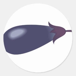 Sticker Rond Bande dessinée d'aubergine