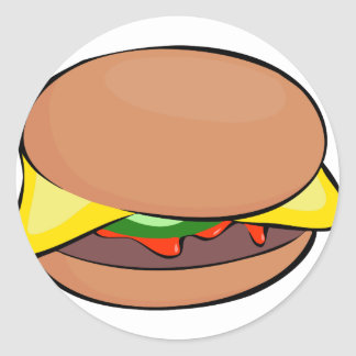 Sticker Rond Bande dessinée de cheeseburger