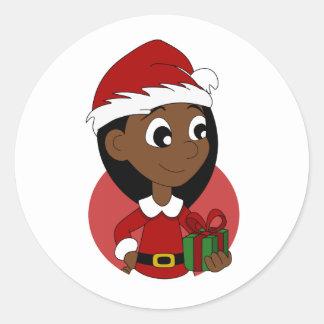 Sticker Rond Bande dessinée de fille de Noël
