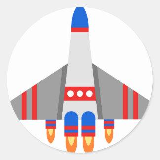 Sticker Rond Bande dessinée de vaisseau spatial