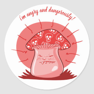 Sticker Rond bande dessinée drôle de champignon fâché