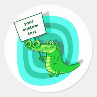Sticker Rond bande dessinée drôle de crocodile de protestation