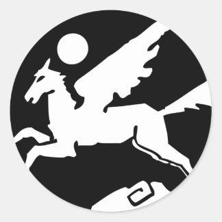 Sticker Rond Bande dessinée noire et blanche fraîche de Pegasus