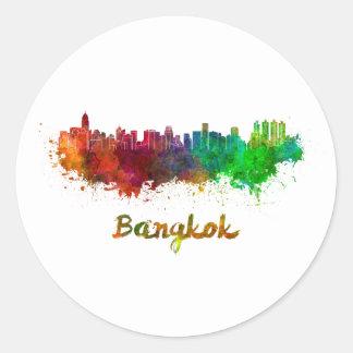 Sticker Rond Bangkok skyline in watercolor