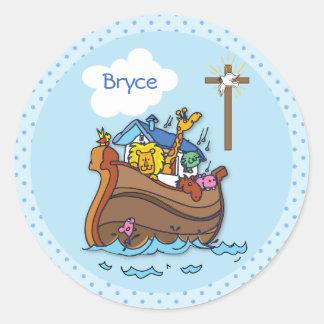 Sticker Rond Baptême de bébé de l'arche de Noé personnalisable,
