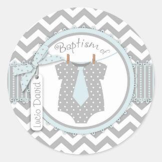 Sticker Rond Baptême d'impression de Chevron de cravate de bébé