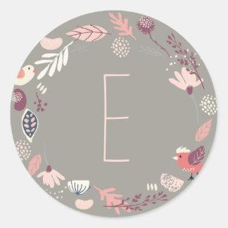 Sticker Rond Baptême floral LDS de lapin de fille de