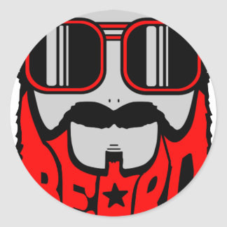Sticker Rond barbe rouge
