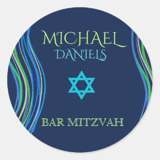 Sticker Rond Barre châle bleu et vert de Mitzvah de prière