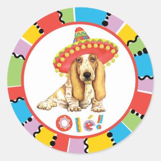 Sticker Rond Basset de fiesta
