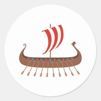 Sticker Rond Bateau de Viking