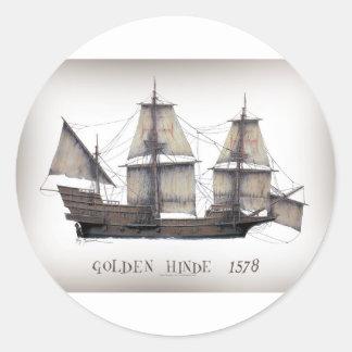 Sticker Rond Bateau d'or de 1578 Hinde