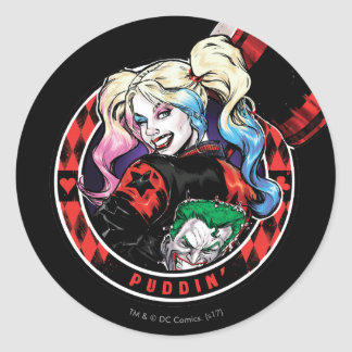 Sticker Rond Batman   Harley Quinn clignant de l'oeil avec le
