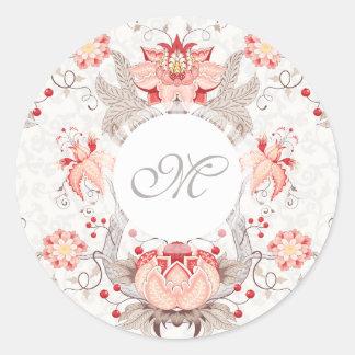 Sticker Rond Bâton floral vintage chic de monogramme de damassé