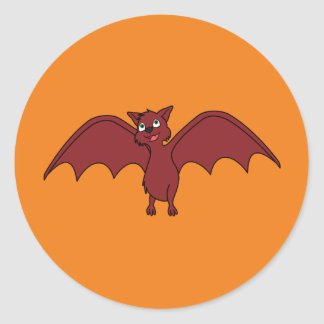 Sticker Rond Batte de vol de Halloween en rouge de vampire