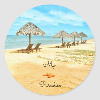Sticker Rond Beau ma plage de paradis