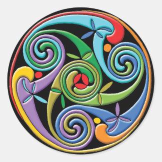 Sticker Rond Beau mandala celtique avec des remous colorés