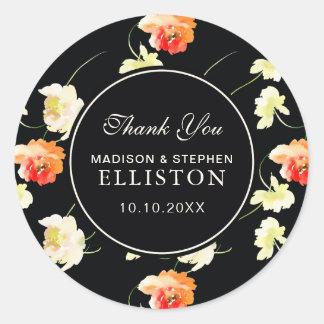 Sticker Rond Beau Merci floral noir de  