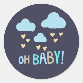 Sticker Rond Bébé de bébé de bleu marine oh