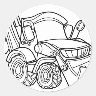 Sticker Rond Bêcheur de bouteur de véhicule de bande dessinée