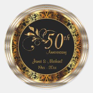Sticker Rond Bel cinquantième anniversaire de mariage d'or