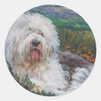 Sticker Rond Belle vieille peinture anglaise d'art de chien de