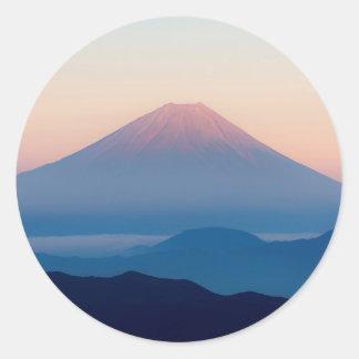 Sticker Rond Belle vue le mont Fuji, Japon, lever de soleil