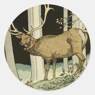 Sticker Rond Belles créatures vintages de région boisée