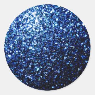 Sticker Rond Belles étincelles bleu-foncé de scintillement