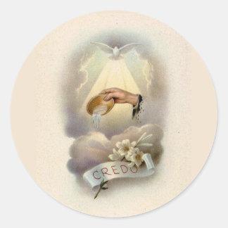 Sticker Rond Bénédiction baptismale avec le Saint-Esprit