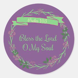 Sticker Rond Bénissez le seigneur O My Soul Wreath