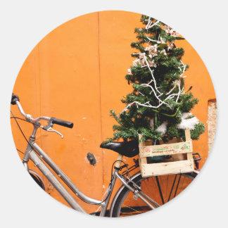 Sticker Rond Bicyclette de Noël