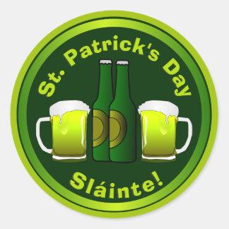 Sticker Rond Bière colorée du jour de St Patrick