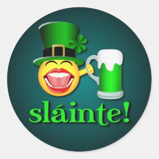 Sticker Rond Bière potable Emoji de Sláinte de Jour de la Saint