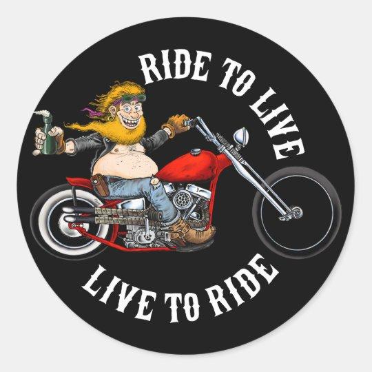 Sticker Rond biker motard ride to live