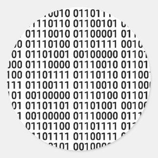 Sticker Rond Binaire : J'aime programmer