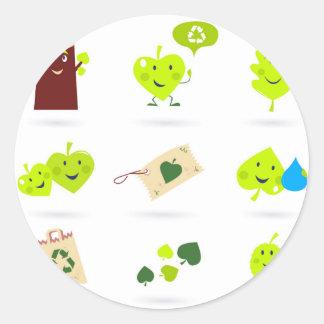 Sticker Rond Bio vert mignon d'icônes d'enfants
