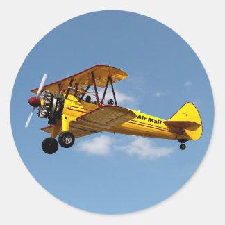 Sticker Rond Biplan de la poste aérienne