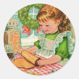 Sticker Rond biscuits vintages de cuisson de fille de Noël des