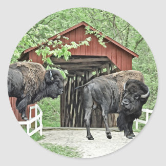 Sticker Rond Bison américain drôle au pont couvert