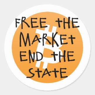 Sticker Rond Bitcoin - libérez l'extrémité du marché l'état