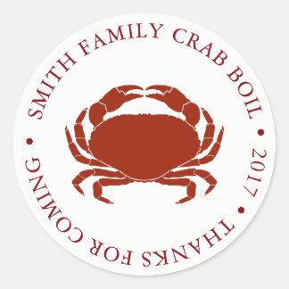 Sticker Rond Blanc customisé d'événement d'ébullition de crabe