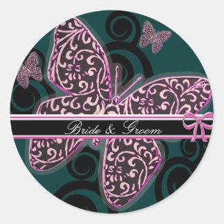 Sticker Rond Blanc noir pourpre de remous de papillons de marié