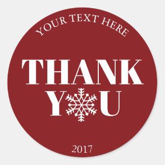 Sticker Rond Blanc rouge de flocon de neige de Merci de Noël