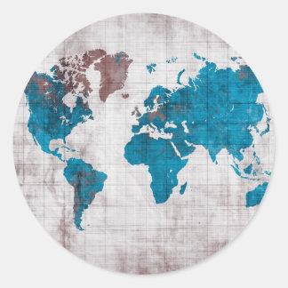 Sticker Rond bleu blanc de carte du monde