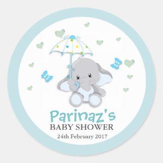 Sticker Rond  bleu d'autocollant de baby shower d'UmbrellaLove