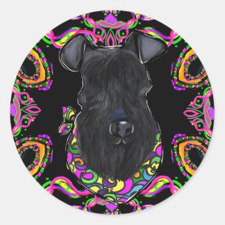 Sticker Rond Bleu de Kerry Terrier
