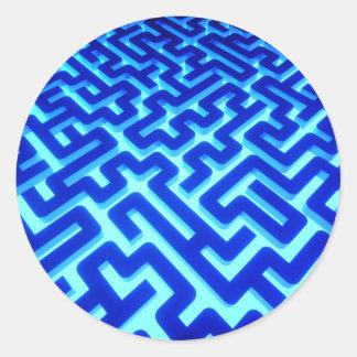 Sticker Rond Bleu de labyrinthe