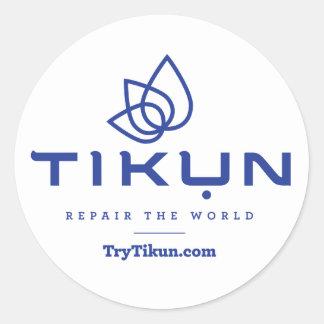 Sticker Rond Bleu de Tikun sur l'autocollant blanc