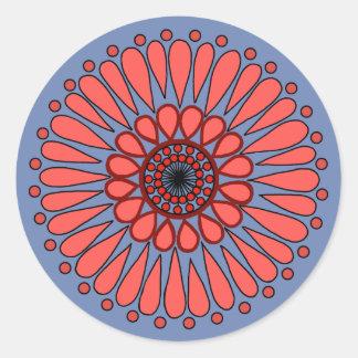 Sticker Rond Bleu - double mandala de corail de tournesol